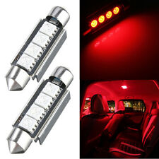 2pc Festoon Canbus 42mm 5050 4-SMD LED CANBUS Interior Car Dome Lamp Bulbs Red