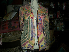 CREME FRAICHE Wild Floral Cotton Silk Tissue Thin Button Down Blouse Size S