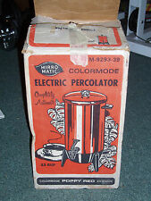 Vintage Mirro Matic Electric Coffee Percolator 22 cup Poppy Red, tested & works!