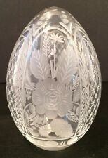 Vintage Russian Imperial Rose Faberge Cut Clear Crystal Art Glass Egg Signed