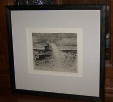 Amos W Sangster 1886 Copper Plate Etching Niagara River.....Framed gallery piece
