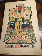 Antique 1925 Spanish artist JOAQUIM RENART litho Ex Libris BOOKPLATE print