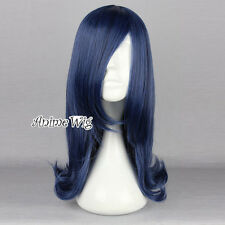 Dark Blue Mixed Black 45CM Medium Anime Cosplay Heat Resistant Wavy Party Wig