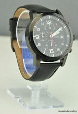 NWT Watch GUESS Black Leather Men New U12636G1