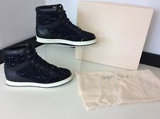 JIMMY CHOO navy Blue Leather Stones Hi Top Sneakers Boots Size 36 Uk 3 Box TOKYO