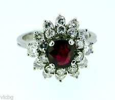 Vintage 1950s Retro Mogok Ruby Diamond Cluster Cocktail Ring 18K Gold