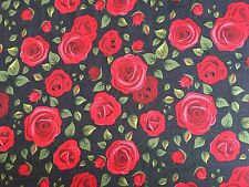 Denim Red Roses Flowers 100% Cotton Fabric Material Sold by HALF METRE