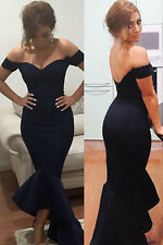 Ladies Sexy Off Shoulder Navy Mermaid Peplum Fishtail Midi Dress Size 8 10 12 14