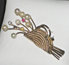 VTG WINARD SIGNED 12k G.F. PIN/BROACH FLOWER BASKET W/PEARLS RHINESTONES-EUC