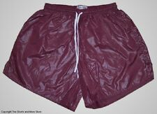Burgundy Wet Look Shiny Nylon Soccer Shorts by Soffe - Men's Small *HOT*