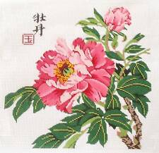 """LEE Oriental Pink & Rose Peony handpainted Needlepoint Canvas 14"""" by 14"""" 12 mesh"""