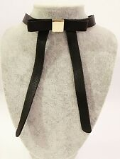 Chic Collar Gothic Black PU Leather Bow Choker Gold Tone Metal Punk Necklace