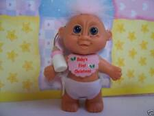 "BABY GIRL'S FIRST CHRISTMAS - 3"" Russ Troll Doll - NEW IN ORIGINAL WRAPPER"