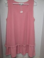 Simply Noelle Peach Ruffle Tunic Tank Top Layered Mesh Sparkle L/XL 12 14 New