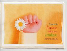 Carte Double Faire-Part Naissance.Mixte.Orange.17 cm x 12 cm.
