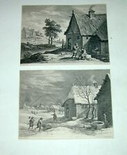David Teniers Surugue Herbst Winter Original Kupferstiche copper engravings 1750