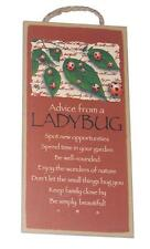 "Advice from a Ladybug Novelty, Inspirational 5""x10"" Wood Plaque Sign for Wall"