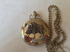 A65 Wild Boar 2  polished silver case mens GIFT quartz pocket watch fob