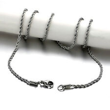 """Women Men's Stainless Steel Twisted Rope Chain Long Necklace 24""""x 2.4mm Free 1PC"""