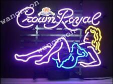 New Crown Royal Sexy Girl Real Glass Neon Sign Beer Bar Pub Light FREE SHIPPING