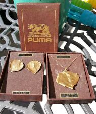 Puma VTG 24K Gold Plated Real Leaf Necklace & Matching Earrings Colorado EUC