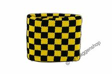 Sweatband Flag Flag Check Black - Yellow 7x8cm Bracelet for Sports