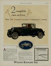 1927 WILLYS KNIGHT AUTO CAR AD / CABRIOLET COUPE - WILLYS-KNIGHT SIX