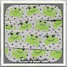 "Frog Frog green cutie on white 10 yards 7/8"" grosgrain ribbon TWRH"