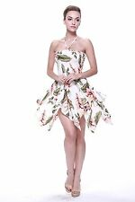 Tropical Hawaiian Luau Dress Cruise Gypsy Uneven Beach Sexy Rafelsia Cream Flora