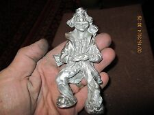 vintage hobo clown with dog on leg,ratrod hotrod,car hood ornament mascot