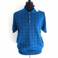 J-1519125 New Brioni Turquoise Knit Polo Short Sleeve Sweater Shirt Size XL