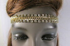 New Women Elastic Gold Head Band Chain Fashion Jewelry Double Silver Rhinestones