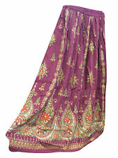 BOHEMIAN LONG SKIRT PURPLE SEQUIN EMBROIDERED BOHO FASHION HIPPIE GYPSY SKIRTS