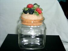 Canister Glass Jars 250ml - 3 in sale - Apple, Raspberries, Grapes