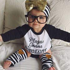 Newborn Baby Boys Girls T-shirt Tops+Leggings Outfits Clothes Sets 3-4 Years