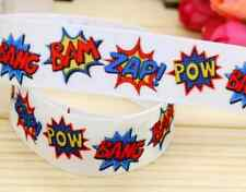 "1M 22mm 7/8"" WHAM ZAP POW GROSGRAIN RIBBON CAKE CRAFT GIFTS DECORATION BOY PARTY"