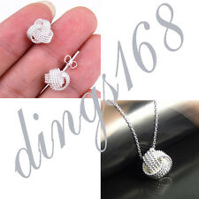 Ladies Classic 925 Sterling Silver Love Knot Pendant+ Earrings Jewelry Set s0101