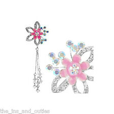Reverse Pink Flower Clear Gem Belly Ring Pierced Navel (w199)