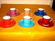 VINTAGE/VICTORIAN SET OF 6xHARLEQUIN COFFEE CUPS&SAUCERS, wear on gold (1.5/H2A)