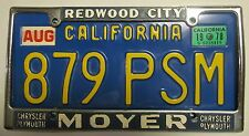 California BLUE 1978 License Plate and FRAME NICE QUALITY # 879 PSM