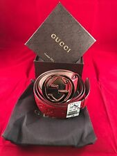 Brand New With Tags Gucci Belt Red Guccissima w/ Gold Buckle 105 Cm 42-44W