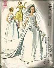VINTAGE SEWING PATTERN 1960'S WEDDING DRESS W DETACHABLE TRAIN & JACKET