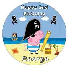 "George Pig Peppa Pig Personalised 7.5"" Cake Topper  Edible Wafer Paper"