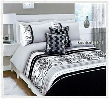280TC Black White Grey Tiger Skin Embro. Pintuck 3pc QUEEN QUILT DOONA COVER SET