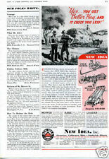 1939 New Idea Mower Rake Loader Farm Tractor Implement Print Ad