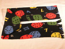 Colorful Dice on Black Fleece Scarf