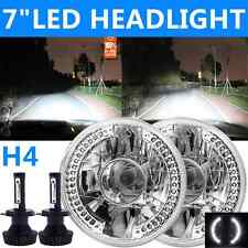 "7"" H4 Philips LED Housing Round Sealed Beam Halo Headlight Projector Hi-Lo Pair"