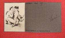 DESSIN ENCRE PLANCHE ORIGINAL CARTE DE VOEUX DEDICACE FRANCOIS BOUCHE 1969 NU