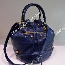 BALENCIAGA POMPON LARGE NAVY DARK BLUE GGH GIANT GOLD 21 TOTE CROSS BUCKET BAG