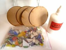 Circular base Mosaic 4 Coaster kit - Rainbow glass tiles - pva glue